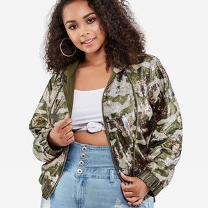 1X 2X 18 AS SEQUIN BLING camo BOMBER HOODIE jacket